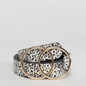 ASOS Gold Double Ring White Leopard Belt